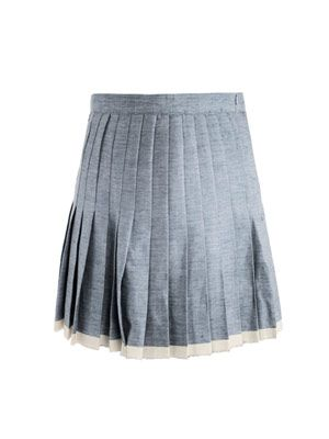 Raw-finish pleated skirt