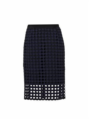 Giant-eyelet cotton pencil skirt