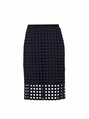 Giant-eyelet cotton pencil skirt