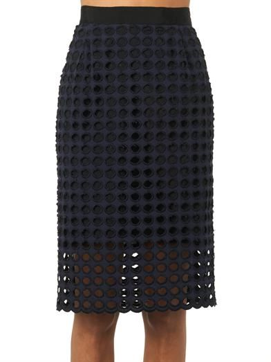 Sea Giant-eyelet cotton pencil skirt