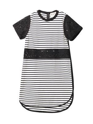 Breton striped lace cut-out dress