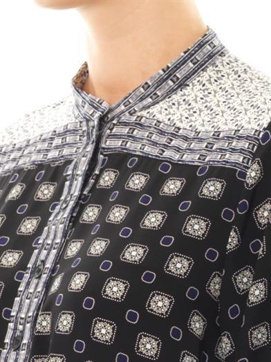 Sea Mosaic Tile-print silk dress