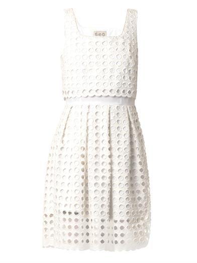 Sea Giant-eyelet cotton dress