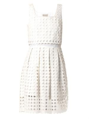 Giant-eyelet cotton dress