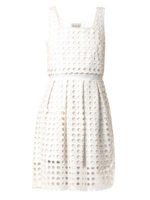 Giant-eyelet cotton dress