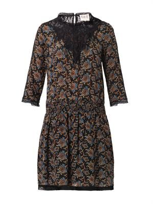 Paisley-print silk and lace dress