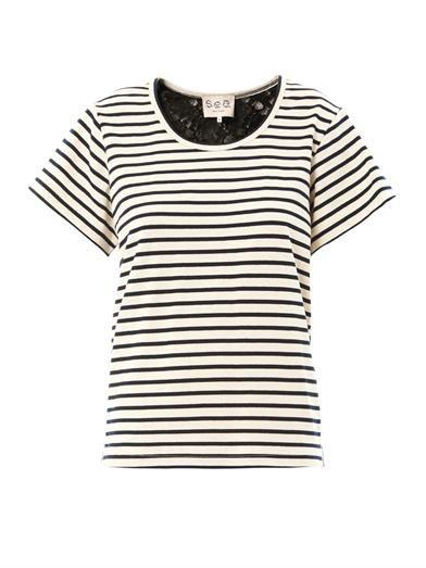 Sea Breton stripe and lace T-shirt