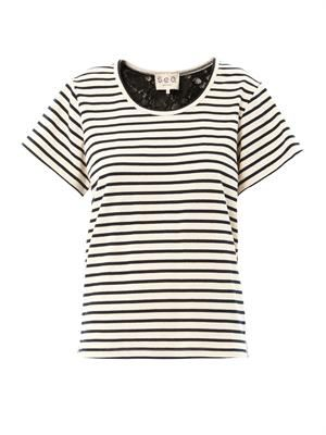 Breton stripe and lace T-shirt