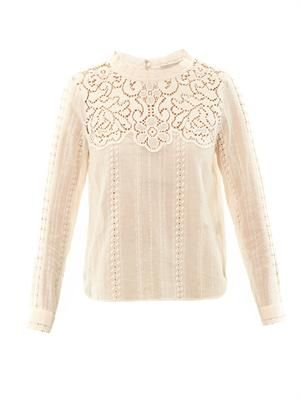 Lace long sleeved cotton top