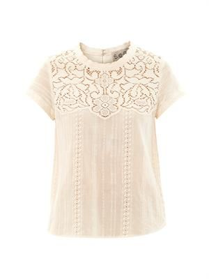 Lace short sleeved cotton top