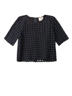 Giant-eyelet cotton top
