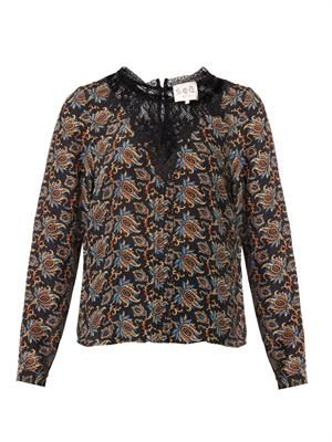 Paisley-print crepe and lace top