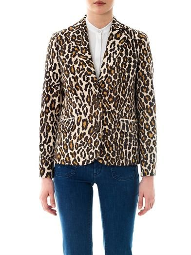Sea Leopard-print cotton blazer