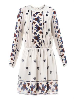 Aztec-print silk dress