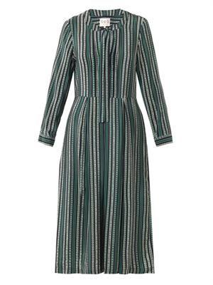 Floral stripe-print dress