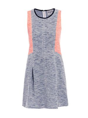 Tweed contrast panel dress