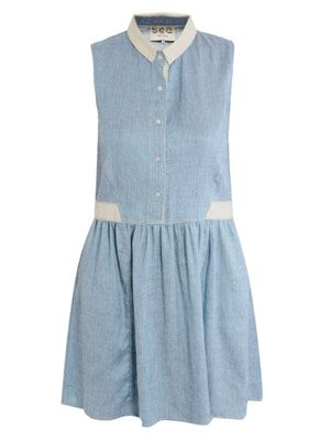 Denim button-up dress