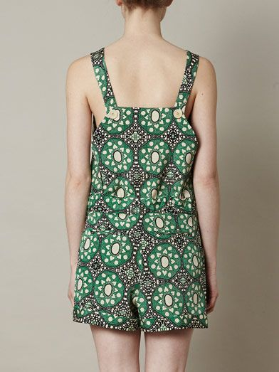 Sea Batik-lace silk playsuit