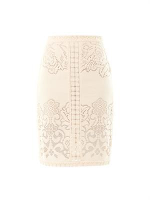 Eyelet lace pencil skirt