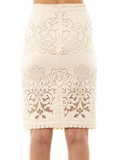 Sea Eyelet lace pencil skirt