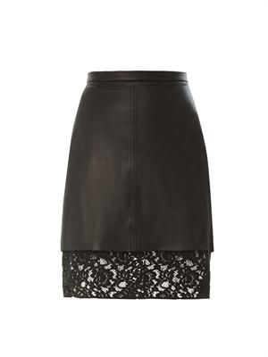 Pizval lace-hem leather skirt