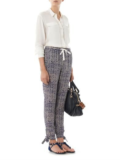 Sea Aborigina printed silk trousers