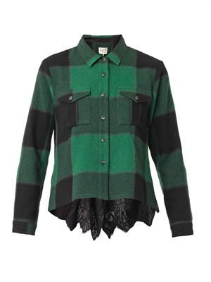 Buffalo check lace-back shirt