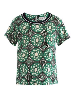 Batik lace silk knit T-shirt
