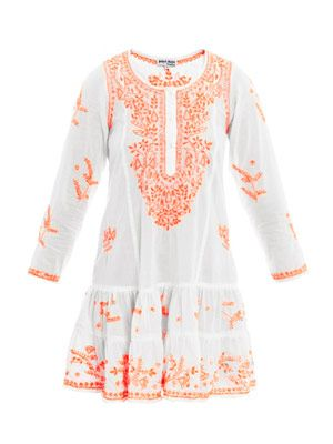 Neon embroidered long sleeve beach dress