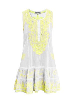 Neon embroidered beach dress