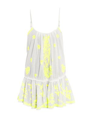 Neon embroidered dress