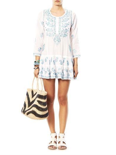 Juliet Dunn Embroidered cotton kaftan