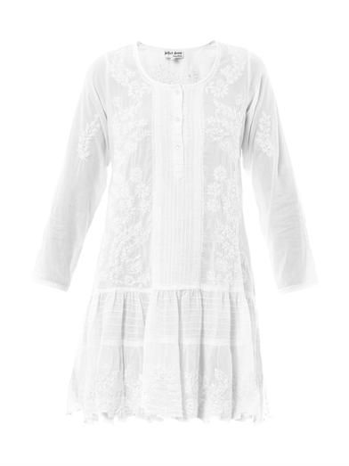 Juliet Dunn Embroidered pin-tuck kaftan