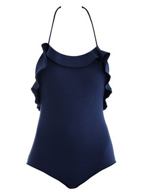 Ruffled sculpted neoprene swimsuit