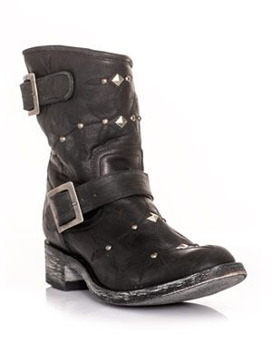 Studded and embroidered biker boots