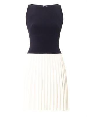 Pleated skirt bi-colour dress