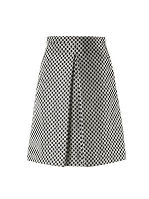 Checkered brocade skirt
