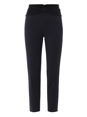 Turban-waistband crepe trousers