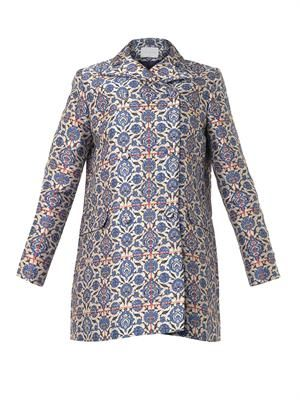 Tile-jacquard pea coat