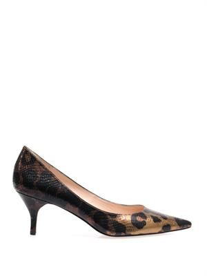 Ruby leopard-print & snake-embossed pumps