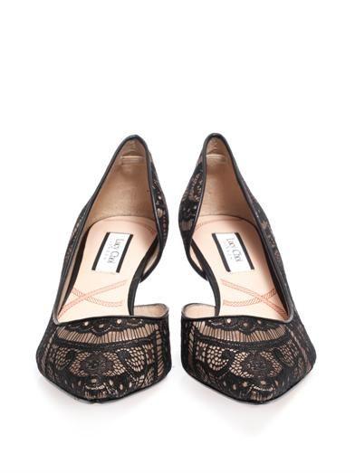 Lucy Choi London Knightsbridge lace half-dorsey pumps