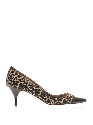 Louise leopard calf-hair pumps