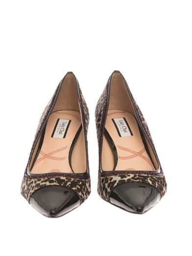 Lucy Choi London Louise leopard calf-hair pumps