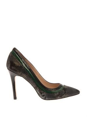 Durham snake-effect leather pumps