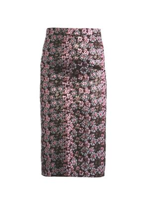 Metallic floral jacquard pencil skirt