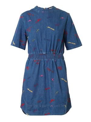 Scribble-embroidered denim dress