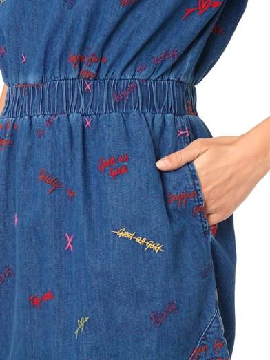 House Of Holland Scribble-embroidered denim dress