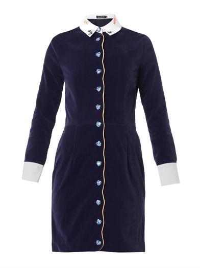 House Of Holland Velvet crystal-button dress