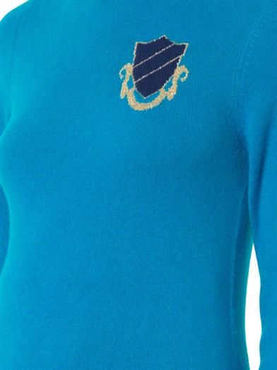 House Of Holland Intarsia-badge roll-neck sweater