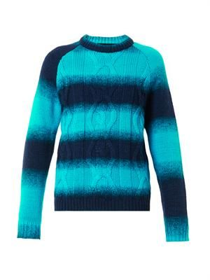 Ombre-stripe cable-knit sweater